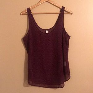 Black and Pink Patterned Tank Top Blouse - L